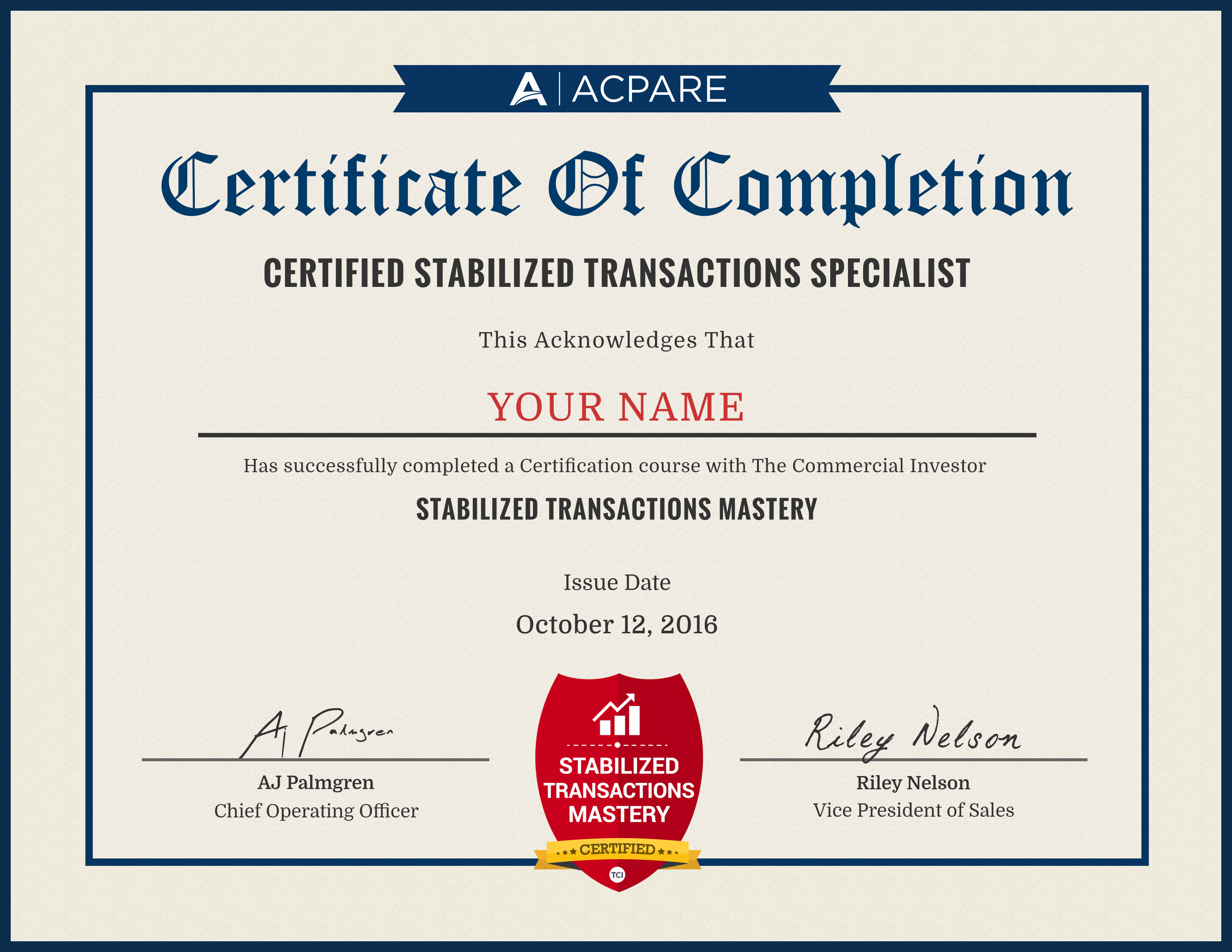 Acpare hq certification and the best part your digital certificate is full color so make sure to print it up frame it and display it proudly in your home or office 1betcityfo Image collections