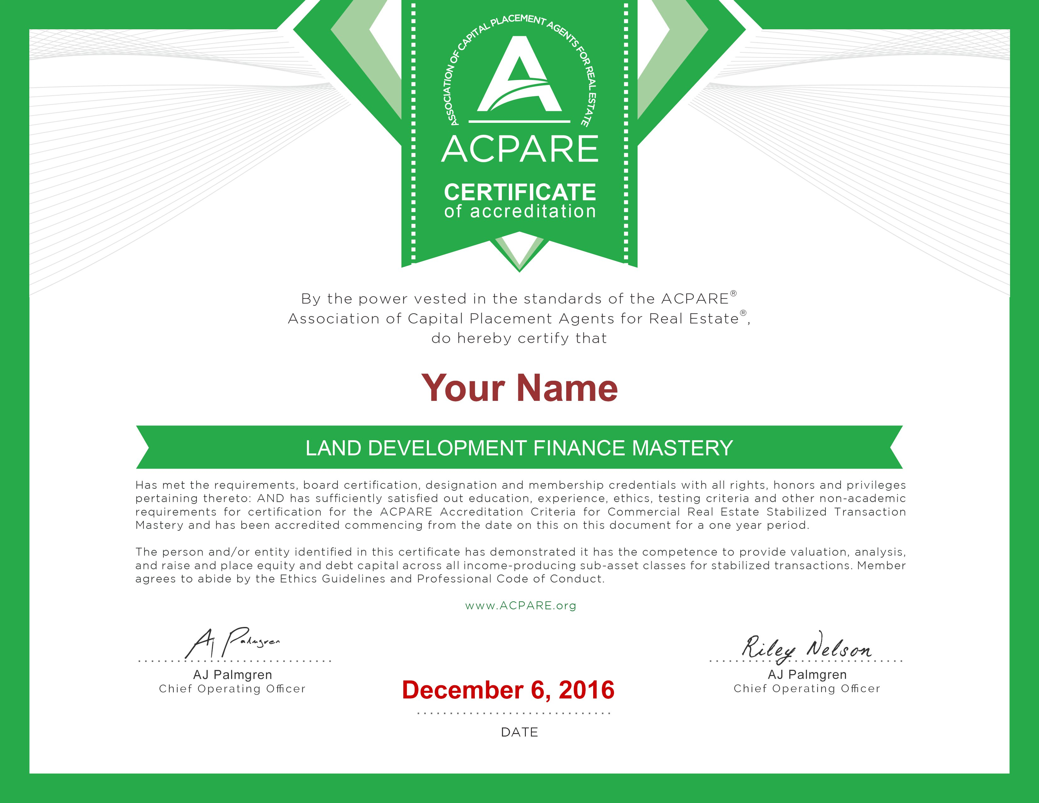 Acpare Hq Certification